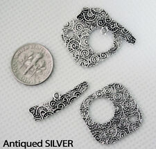 Antiqued Silver, Gold, Copper Plated Swirls Textured Toggle Clasp Sets Connector
