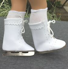 "Doll Shoes - SM40 Ice Skates 'White' size 1 (3-1/8"" length): Fits American Girl"
