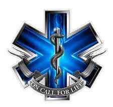 EMS Logo (Z2) Blue Flames Vinyl Decal Sticker Car/Truck Laptop/Netbook Window