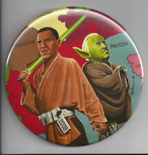 """2008 OBAMA & BIDEN STAR WARS 4"""" LIMITED ED., SIGNED BUTTON BY ARTIST B. CAMPBELL"""