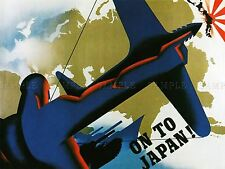 PROPAGANDA WAR WWII USA JAPAN MAP BOMBER VICTORY FORWARD ART POSTER PRINT LV7350