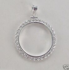 Coin Bezel Frame U.S.QUARTER Real Rope.925 Sterling Silver Mount Soldered Bail