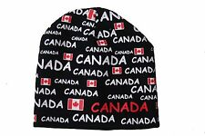 CANADA BLACK COUNTRY FLAG WITH TITLES TOQUE HAT ..NEW
