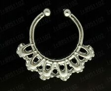 1pcs Non-Piercing Septum Clip-On Fake Nose Open Hoop Ring Earring Body siver b29