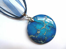 Natural Blue Sea Sediment Jasper Gemstone Pendant Necklace Jewellery one-off