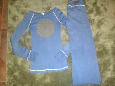 PINK LOTUS yoga set S blue LS top medallion Capri COZY Athleta rhinestone lounge