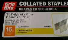 """GRIP RITE BCS STYLE STAPLES 16 GAUGE 1"""" WIDE CROWN x 1-1/4"""" LEG 10,000 COLLATED"""
