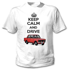 POLISH FIAT 125P RED KEEP CALM AND DRIVE - WHITE COTTON TSHIRT