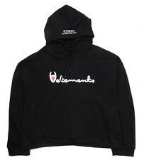 New C Vetements Print Graphic Hooded Sweatshirt Hoodie Black Streetwear