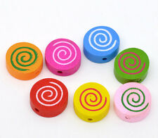 100 Mixed Multicolor Cute Vortex Wood Beads 16x16mm