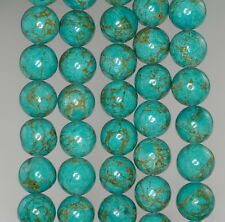 """10MM BLUE TURQUOISE GEMSTONE BLUE GREEN ROUND 10MM LOOSE BEADS 16"""""""