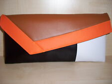 ORANGE, TAN, WHITE AND BLACK  Faux leather clutch. LOVINGLY handmade in the UK.