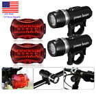 2 x Waterproof 5 LED Lamp Bike Bicycle Front Head Light + Rear Safety Flashlight