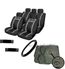 GREY Steering Wheel Belt Leather Look Car Seat Cover Carbon Mat Universal Set