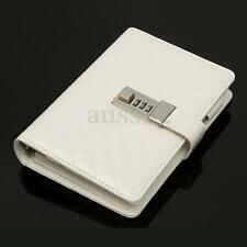 A6 White PU Leather Journal Diary Note with Combination Lock Business Notebook