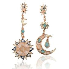 New Womens Fashion Elegant Sun And Moon Gem Dangling Faux opal Crystal Earrings