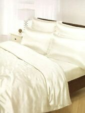 Cream Satin Silk Duvet Sheet Cover Set Double Size 6 pcs Bedding Bed Pillow Home