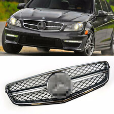 C63 AMG Style Chrome Frame Black Grille Logo Emblem for BENZ 12-14 C CLASS W204