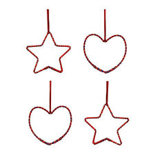 REDUCED PRICE! IKEA SNOMYS 4-PACK RED HEART/STAR XMAS TREE HANGING DECORATION