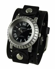 Nemesis Mens Wheelman Watch + Black Jumbo Basic Leather Cuff Band Vintage