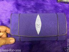 Genuine Stingray Wallet Skin Leather Women Purse Purple Clutch Bag Long Wallet