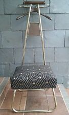 VTG Retro Gold & Black Valet Stand Suit Hanger Silent Butler Mens Dressing Chair
