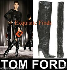 NEW TOM FORD BLACK ANACONDA OVER THE KNEE BOOTS 38 - 8  w/ GUCCI RING