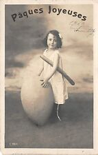 BG9013 paques girl with big egg  ostern easter greetings france