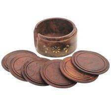 6 Hand Carved Wooden Coasters and Brass Inlayed Holder Floral Leaf Carving