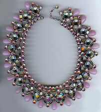 COUNTESS CIS VINTAGE BEAUTIFUL DAZZLE PINK RHINESTONE GLASS BIB NECKLACE