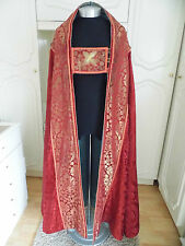 STUNNING ANTIQUE 19th C RED GOLD SILK DAMASK COPE & HOOD CHASUBLE CLOAK CHASUBLE