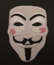 Anonymous Vendetta Mask Guy Fawkes Anarchy Hacker Embroidered Patch~Sew Iron On