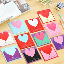 Lovely 10Pcs Heart Shaped Birthday Christmas Greeting Wish Message Card Envelope