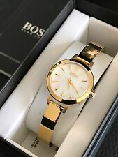Hugo Boss Women Gold Tone Bangle Bracelet Mother of Pearl Dial Watch 1502368 NWT