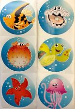 50 Tropical Summer Ocean Sea Life Fish Turtle Starfish Stickers Party Favors
