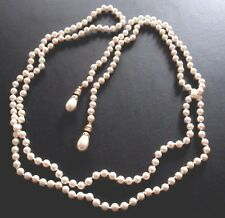 Signed Christian Dior Lariat Necklace Faux Pearls New