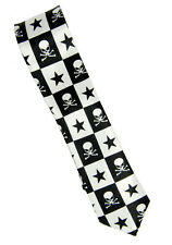 "Mens Fashion Neck tie ""Skull & Star"" Woven Skinny Necktie Width 2 inches"