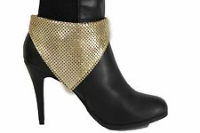 Women Gold Mesh Metal Bandana Boot Bracelet Anklet High Heel Shoe Charm Jewelry