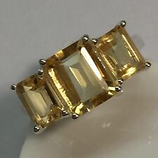 Genuine 6ct Emerald Cut Golden Citrine 925 Solid Sterling Silver 3-Stone Ring 8