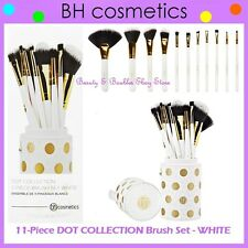 NEW BH Cosmetics 11-Piece DOT COLLECTION WHITE Brush Set w/Cup Holder FREE SHIP