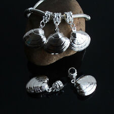 5PCS Silver Plated Dangle Shell Conch Charms Loose Beads Fit European Bracelets