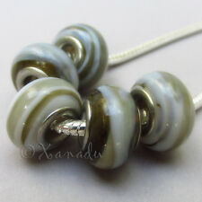 5PCs Wholesale Grey European Charm Beads With Cream Swirls For Charm Bracelets