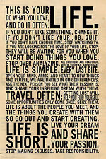 This is your life Quote Art Vintage Wall Silk Poster Living Room Decor 17x28inch