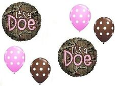 MOSSY OAK It's a Doe Pink Girl Baby Shower Camouflage 6 Mylar & Latex Balloons