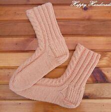 HaHa Woman Hand Knit Pastel Orange Homestead Sheep Wool Socks size 38-39(5-6 UK)