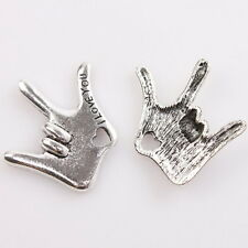 15pcs Antiqued Silver Tone Sign Language I LOVE YOU Charms Alloy Pendants Lots D