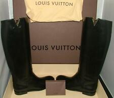 Authentic LOUIS VUITTON HERITAGE black leather riding boot 36.5 New in Box
