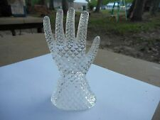"""Beautiful Vintage 5"""" Crystal Glass Hand Ring Holder Vanity Accessory"""