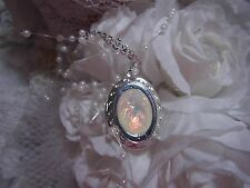 #JRJ21814 WHITE FIRE opal DRAGON BREATH RAINBOW LOCKET Necklace WEDDING PROM