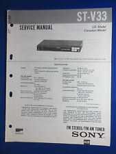 SONY ST-V33 TUNER SERVICE MANUAL FACTORY ORIGINAL